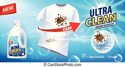 Stain remover, ad vector template or magazine design. Ads...