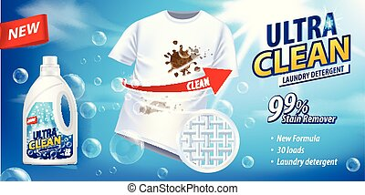 Stain remover, laundry detergent, ad vector template. Ads...