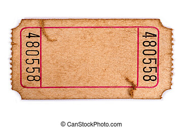 Stained blank admission ticket - Old torn blank movie or...