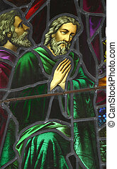 Stained Glass 01 - Old stained glass window - from church,...