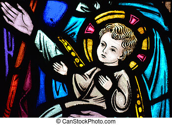 Stained Glass Jesus with Halo
