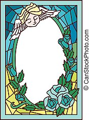 Stained Glass Angel Roses - Stained Glass Illustration...