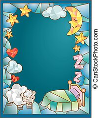Stained Glass Bed Sheep - Stained Glass Illustration...
