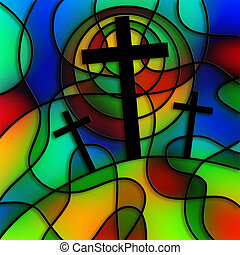 Stained Glass Calvary - I have created this calvary cross...