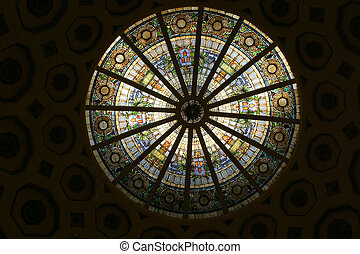 Stained Glass Circle 1 - An ornate stained glass dome,...