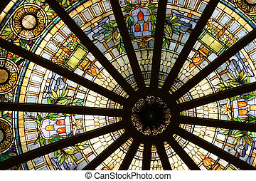 Stained Glass Circle 2 - An ornate stained glass dome,...