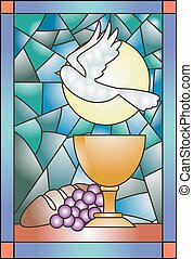 Stained Glass Communion - Stained Glass Illustration...