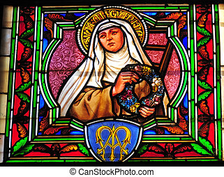 Stained Glass Detail - Detail of Saint Margarita from a...