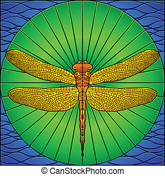 Stained glass dragonfly - Dragonfly on lily pad in stained...