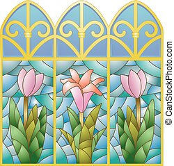 Stained Glass Floral Window - Illustration of Stained Glass...