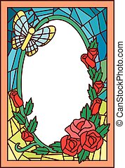 Stained Glass Flowers Butterfly - Stained Glass Illustration...