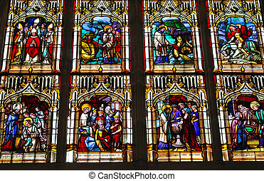 Stained glass in the cathedral in Bayeux Normandy France