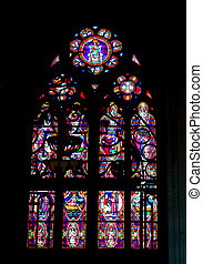 Stained glass in the cathedral in Bayeux. Normandy. France
