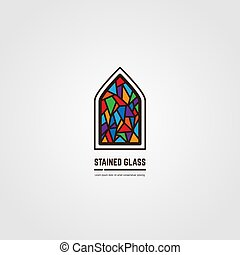 Stained glass line vector emblem