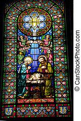 Stained Glass Nativity Baby Jesus Mary Joseph Monestir...