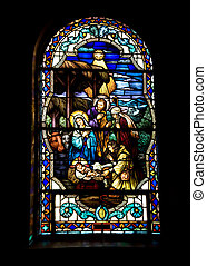 Stained glass-Nativity in window