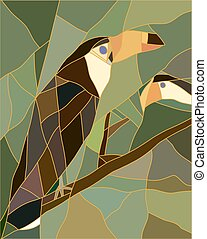 Stained glass of a toucan bird. Realistic style.