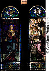 Stained Glass of Angels and Holy Woman, Saint Bartholomew\\\'s Episcopal Church Park Avenue New York City  Glass by Hildreth Meiere and finished in 1920.