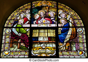 Last Supper - Stained Glass of the Last Supper in the...