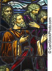 Stained glass - Old stained glass window - from old church, ...