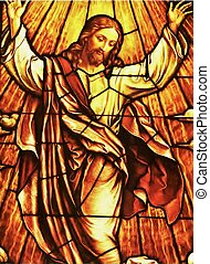 Stained glass window of Jesus assending into heaven