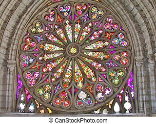 Stained glass window in a basilica in Quito Ecuador