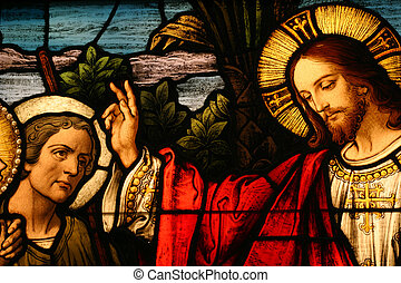 Stained glass showing Jesus blessing a man