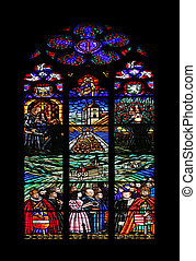 Stained glass that shows pilgrimage to Mariazell, Votiv...