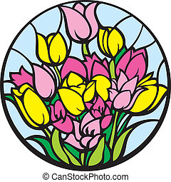 Stained-glass tulips. - A bouquet of tulips looks like a...