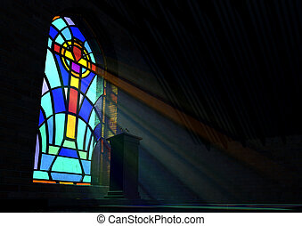 Stained Glass Window Church - A dim old church interior lit ...