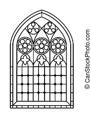 Stained glass window colouring page - A Gothic Style stained...