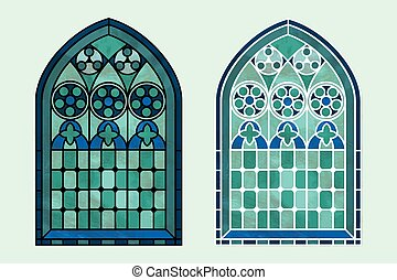 Stained glass window cool tones