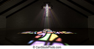 Stained Glass Window Crucifix Light Ray Color - An interior...