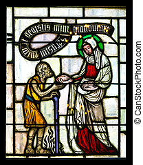 Stained glass window - Details of medieval stained glass...