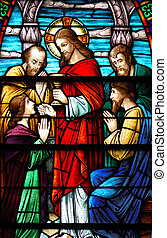 Last Supper - Stained glass window, in 19th century (St....