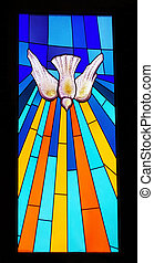 Stained glass window in a church, at Portugal