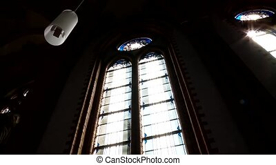 stained-glass window in a church - video Footage of a...