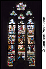 Stained-glass window in Saint Peter and Paul Cathedral, Prague