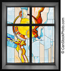 Stained-glass window in school