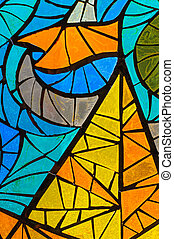 Stained-glass window. Made in USSR - Old abstract stained-...