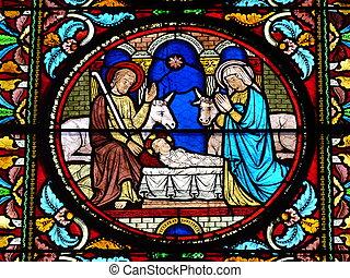 Stained glass window Nativity scene