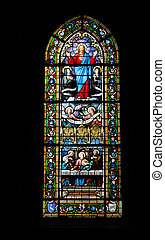 Stained glass window of a church France
