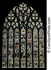 Stained glass window of the Chester Cathedral, United ...