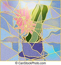 Stained glass window depicting a flower. Vector illustration