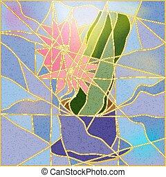 stained-glass window - Stained glass window depicting a ...
