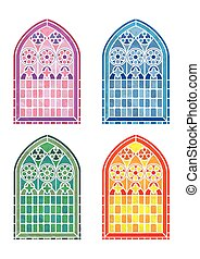 Stained glass window stencils in four colour variations. ...