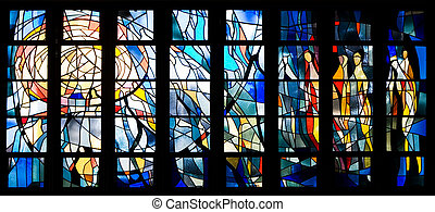 Stained glass window - Interior of church with many small...