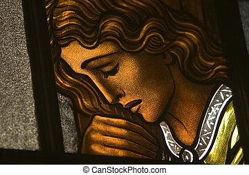 Stained Glass Window - Stained-glass window in a Roman...