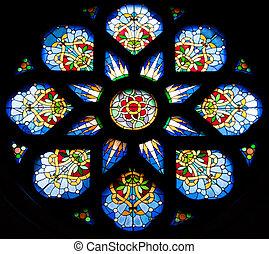 Stained glass window - stained glass window from a church in...
