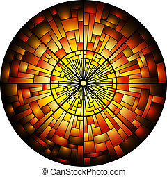 Stained Glass Window - Vector illustration of a stained...